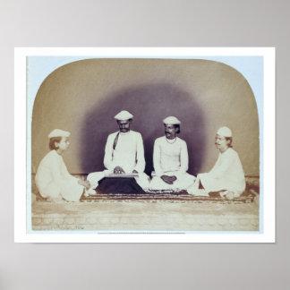Hindu Brahmins in Delhi, 19th century (sepia photo Poster