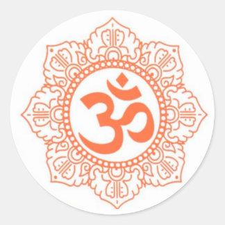 HINDU - BUDDHA SYMBOLS OM OHM ROUND STICKERS