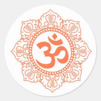 HINDU - BUDDHA SYMBOLS OM,OHM CLASSIC ROUND STICKER