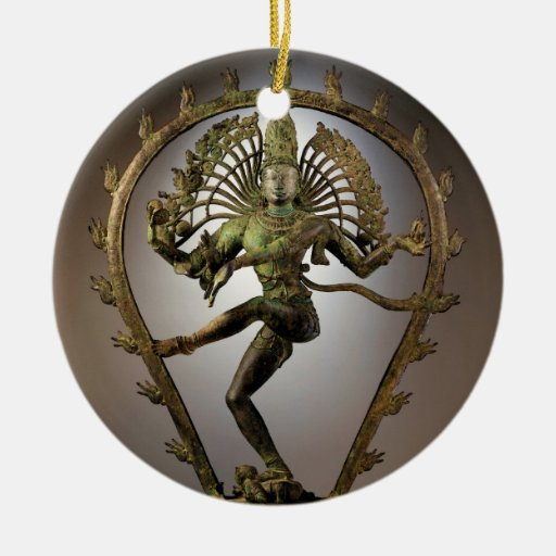 Hindu Deity Shiva Tamil the Destroyer Transformer Double-Sided Ceramic Round Christmas Ornament