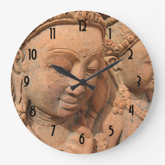 Hindu Deity Stone Sculpture Large Clock