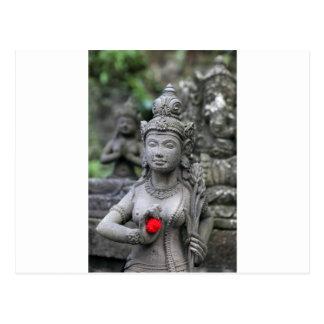 Hindu deity stone sculpture postcard