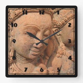 Hindu Deity Stone Sculpture Square Wall Clock
