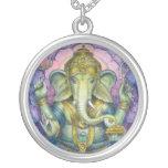 Hindu Elephant God Ganesha Round Necklace
