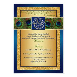 Hindu Ganesh Blue, Gold Peacock Wedding Invite
