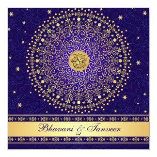Hindu Ganesh Blue Gold Scrolls Wedding Invite