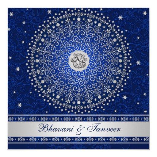 Silver Indian Wedding Invitation: Hindu Ganesh Blue Silver Scrolls Wedding Invite