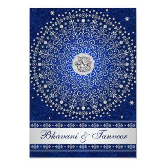 """Hindu Ganesh Blue Silver Scrolls Wedding Invite 2 5"""" X 7"""" Invitation Card"""