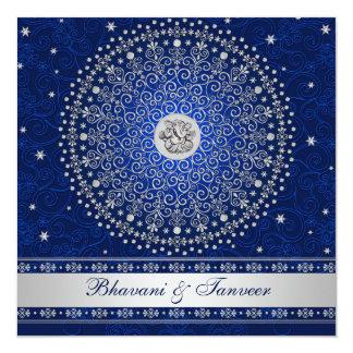 "Hindu Ganesh Blue Silver Scrolls Wedding Invite 5.25"" Square Invitation Card"