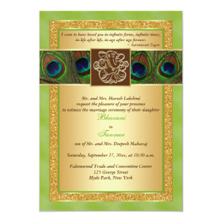 Hindu Ganesh Green, Gold Peacock Wedding Invite 2