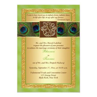 "Hindu Ganesh Green, Gold Peacock Wedding Invite 2 5"" X 7"" Invitation Card"