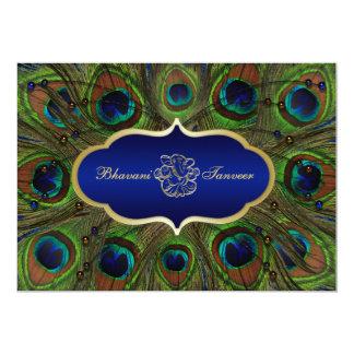 "Hindu Ganesh Peacock Feathers Wedding Invite Blue 5"" X 7"" Invitation Card"