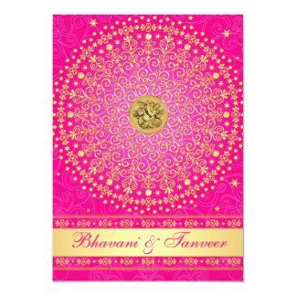 "Hindu Ganesh Pink, Gold Scrolls Wedding Invite 2 5"" X 7"" Invitation Card"