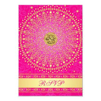 """Hindu Ganesh Pink, Gold Scrolls Wedding RSVP Card 3.5"""" X 5"""" Invitation Card"""