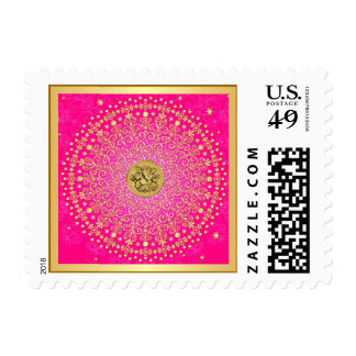 Hindu Ganesh Pink, Gold Stars Scrolls Dots Postage