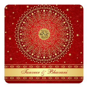 Hindu Ganesh Red Gold Scrolls Engagement Invite