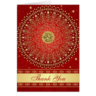 Hindu Ganesh Red Gold Scrolls Stars Thank You Card