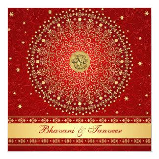 Hindu Ganesh Red, Gold Scrolls Wedding Invite