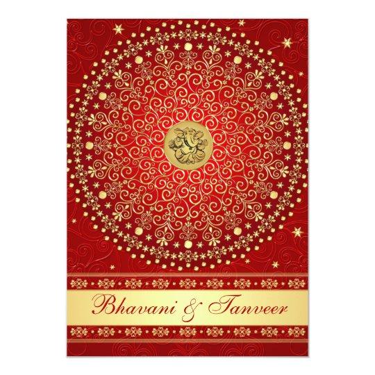 Ganesh Wedding Invitations: Hindu Ganesh Red Gold Scrolls Wedding Invite 2