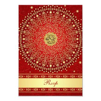 Hindu Ganesh Red Gold Scrolls Wedding RSVP Card