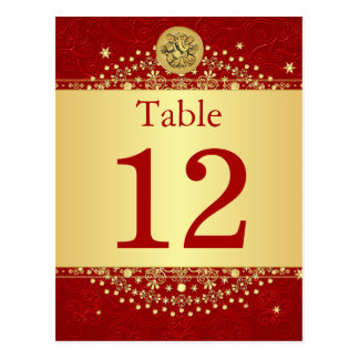 Hindu Ganesh Red, Gold Table Number Post Card