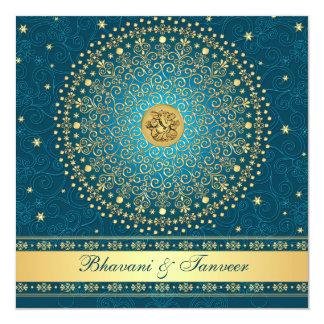 Hindu Ganesh Teal, Gold Scrolls Wedding Invite