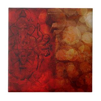 Hindu God Ganesh with Many Arms Red Grunge Ceramic Tile
