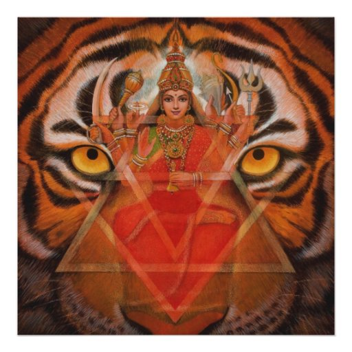 Hindu Goddess Durga and Tiger Art Poster