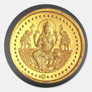 HINDU GODDESS LAKSHMI CLASSIC ROUND STICKER