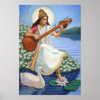 Hindu Goddess Saraswati Art Hinduism Poster Print