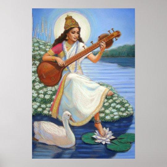 Hindu Poster Art: Hindu Goddess Saraswati Art Hinduism Poster Print