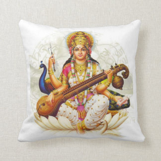 Hindu GoddessSarawati Sanskrit Prayer Throw Pillow