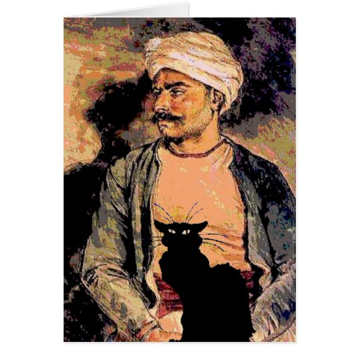 Hindu Man with Black Cat Greeting Card