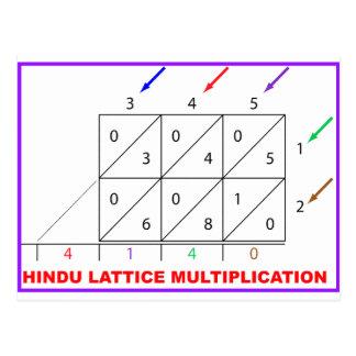 Hindu Multiplication, Hindu Lattice, Sieve Postcard