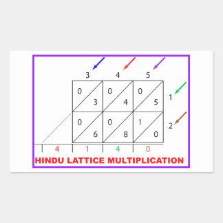 Hindu Multiplication Hindu Lattice Sieve Rectangular Sticker