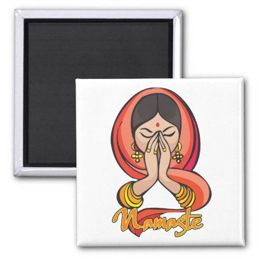 Hindu Namaste 2 Inch Square Magnet