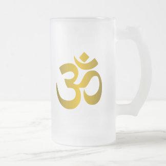 """Hindu """"Om"""" Frosted Glass Beer Mug"""