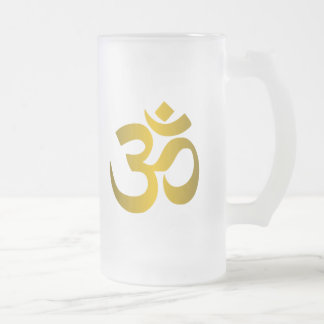 """Hindu """"Om"""" 16 Oz Frosted Glass Beer Mug"""