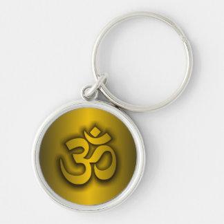"Hindu ""Om"" Silver-Colored Round Keychain"