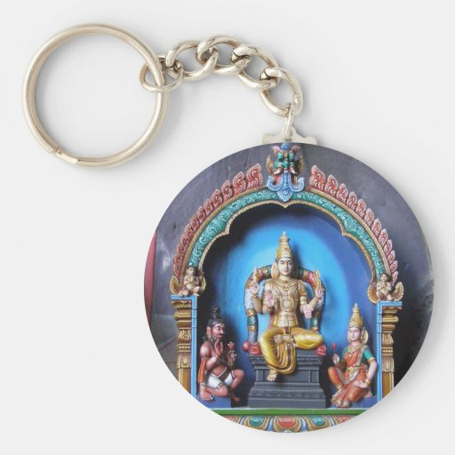 Hindu Shrine, Batu Caves, Malaysia Basic Round Button Keychain