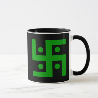 Hindu swastika (green on black background) mug