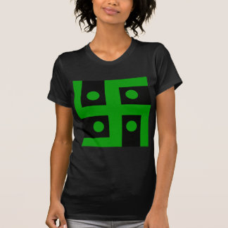 Hindu swastika (green on black background) t-shirt