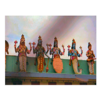 Hindu temple decoration, devotees on the fascade postcard