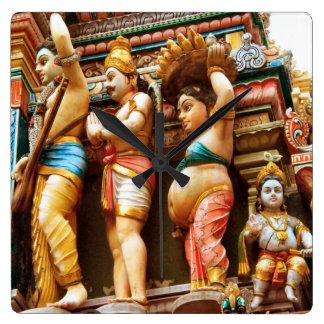 Hindu temple figures square wallclocks