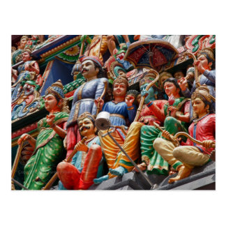 Hindu temple figures postcard