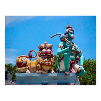 Hindu temple, monkey and the lion post card