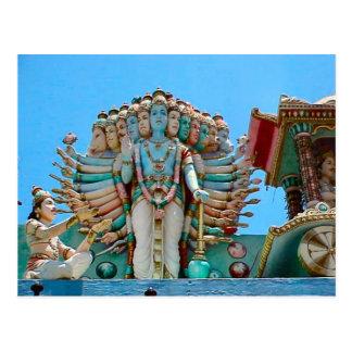 Hindu temple, statue of goddesse postcards