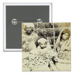Hindu Vegetable and Fruit Sellers in Madras, 19th 2 Inch Square Button