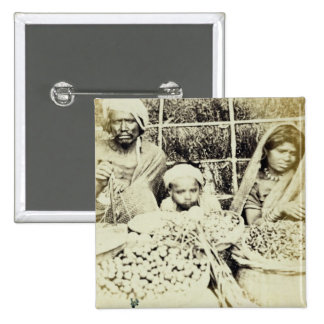 Hindu Vegetable and Fruit Sellers in Madras, 19th Pinback Button