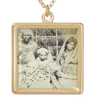 Hindu Vegetable and Fruit Sellers in Madras, 19th Square Pendant Necklace